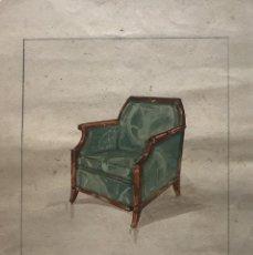 Arte: ORIGINAL MUEBLE ANTIGUO. SELLO TALLER DE EBANISTERÍA Y TAPICERÍA R. LLIMÓS. 20,8X25,8 CM. Lote 151056450