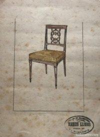 Original mueble antiguo. Sello taller de ebanistería y tapicería R. Llimós. 17,6x23,4 cm