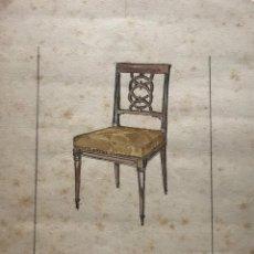 Arte: ORIGINAL MUEBLE ANTIGUO. SELLO TALLER DE EBANISTERÍA Y TAPICERÍA R. LLIMÓS. 17,6X23,4 CM. Lote 151056558