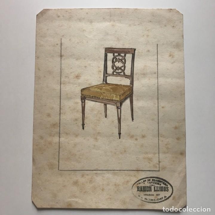 Original mueble antiguo. Sello taller de ebanistería y tapicería R. Llimós. 17,6x23,4 cm - 151056558