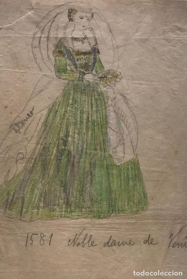 NOBLE DAMA DE VENISE. ORIGINAL A LÁPIZ SOBRE PAPEL CEBOLLA. FIGURINES DE TEATRO. 14X19 CM (Arte - Dibujos - Modernos siglo XIX)