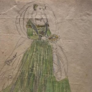 Noble dama de Venise. Original a lápiz sobre papel cebolla. Figurines de Teatro. 14x19 cm