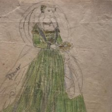 Arte: NOBLE DAMA DE VENISE. ORIGINAL A LÁPIZ SOBRE PAPEL CEBOLLA. FIGURINES DE TEATRO. 14X19 CM. Lote 151024490