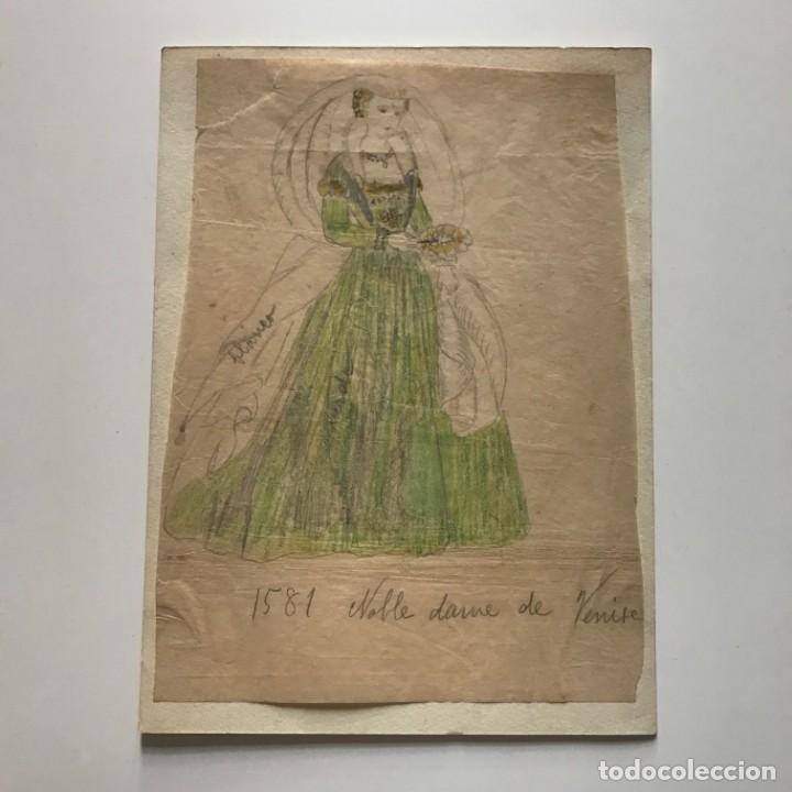 Arte: Noble dama de Venise. Original a lápiz sobre papel cebolla. Figurines de Teatro. 14x19 cm - Foto 2 - 151024490