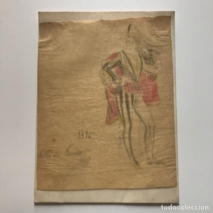 Noble de Venise. Original a lápiz sobre papel cebolla. Figurines de Teatro. 14x19 cm - 151053014