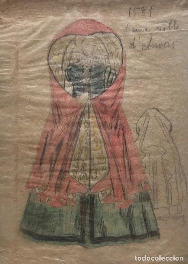 DAMA NOBLE D'AUVERS. ORIGINAL A LÁPIZ SOBRE PAPEL CEBOLLA. FIGURINES DE TEATRO. 14X19 CM (Arte - Dibujos - Modernos siglo XIX)