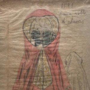 Dama noble d'Auvers. Original a lápiz sobre papel cebolla. Figurines de Teatro. 14x19 cm