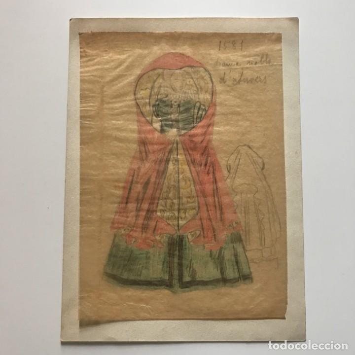 Arte: Dama noble d'Auvers. Original a lápiz sobre papel cebolla. Figurines de Teatro. 14x19 cm - Foto 2 - 151053262
