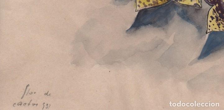 Arte: Dibujo /acuarela sobre papel de E. C. Ricart. 1931 Flor de cactus. - Foto 3 - 111916707
