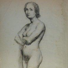 Arte: DIBUJO AL CARBONCILLO SOBRE PAPEL DE SEDA DESNUDO FEMENINO FINALES SIGLO XIX. Lote 151301406
