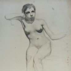 Arte: DIBUJO AL CARBONCILLO DESNUDO FEMENINO ANVERSO Y REVERSO FINALES SIGLO XIX. Lote 151301426