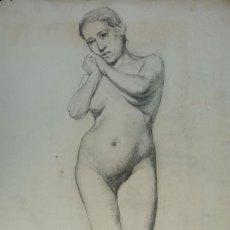Arte: DIBUJO AL CARBONCILLO DESNUDO FEMENINO FINALES SIGLO XIX. Lote 151301450