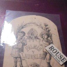 Arte: F.JORBA - DIBUJO ORIGINAL A TINTA S.XIX PARA EL LIBRO PALMAS Y LAURELES POR ANGELA GRASSI 1880 . Lote 151423154