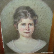 Arte: DIBUJO AL PASTEL.RETRATO.FIRMA ILEGIBLE DE 1912.BUEN TRAZO.. Lote 151499722