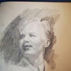 Arte: 17X23CM RETRATO MASCULINO LAPIZ SOBRE PAPEL, FIRMADO Y FECHADO, 1949. Lote 151635106