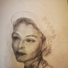 Arte: DIBUJO CARBONCILLO, AÑOS 50, 12X20CM, RETRATO FEMENINO. Lote 151635860