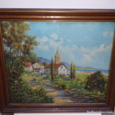 Arte: ÓLEO ACRISTALADO CON SELLO DE LA PINACOTECA.BUEN TRAZO.ESCUELA CATALANA.. Lote 151655378
