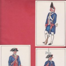 Arte: LOTE DE 3 DIBUJOS ORIGINALES DE FERNANDO GALLEGO UNIFORMES MILITARES ESPAÑA-TROPA DE CASA REAL DM529. Lote 151705482