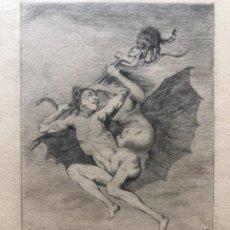 "Arte: DIBUJO ORIGINAL CAPRICHO DE GOYA "" BRUJA Y DIABLO COJUELO "" EUGENIO LUCAS VELAZQUEZ SIGLO XI. Lote 151707726"