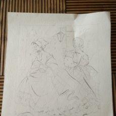 Arte: ARTE. DIBUJO A LAPIZ, FIRMADO DAMAS BAJO LA LLUVIA. 21CM X 18CM.. Lote 151709904