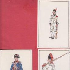 Arte: LOTE 3 DIBUJOS ORIGINALES DE FERNANDO GALLEGO UNIFORMES MILITARES ESPAÑA INFANTERÍA DE LÍNEA DM535. Lote 151711242