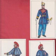 Arte: LOTE DE 3 DIBUJOS ORIGINALES DE FERNANDO GALLEGO UNIFORMES MILITARES ESPAÑA - DM539. Lote 151713714