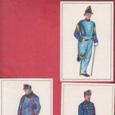 Arte: LOTE DE 3 DIBUJOS ORIGINALES DE FERNANDO GALLEGO UNIFORMES MILITARES ESPAÑA- INVÁLIDOS DM540. Lote 151714526