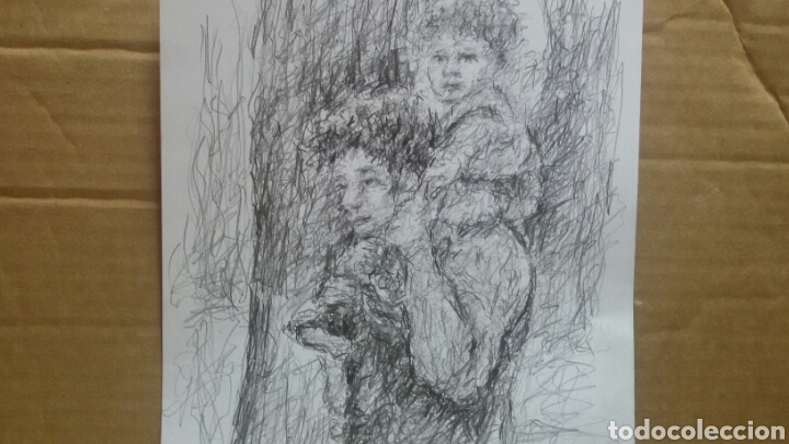 Arte: Dibujo paseo padre hijo original - Foto 2 - 151793032