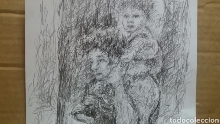 Arte: Dibujo paseo padre hijo original - Foto 3 - 151793032
