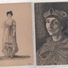 Arte: DOS POSTALES CON DIBUJOS ORIGINALES DE CUADROS DEL MUSEO DEL PRADO. BENJAMIN PALENCIA. 1915. Lote 152106114