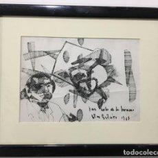 Arte: OTERO BESTEIRO, DIBUJO A TINTA FIRMADO Y DEDICADO. Lote 152190994