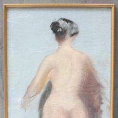 Arte: DESNUDO FEMENINO, 1968, DIBUJO AL CARBONCILLO, FIRMA ILEGIBLE. 62X42CM. Lote 152259786