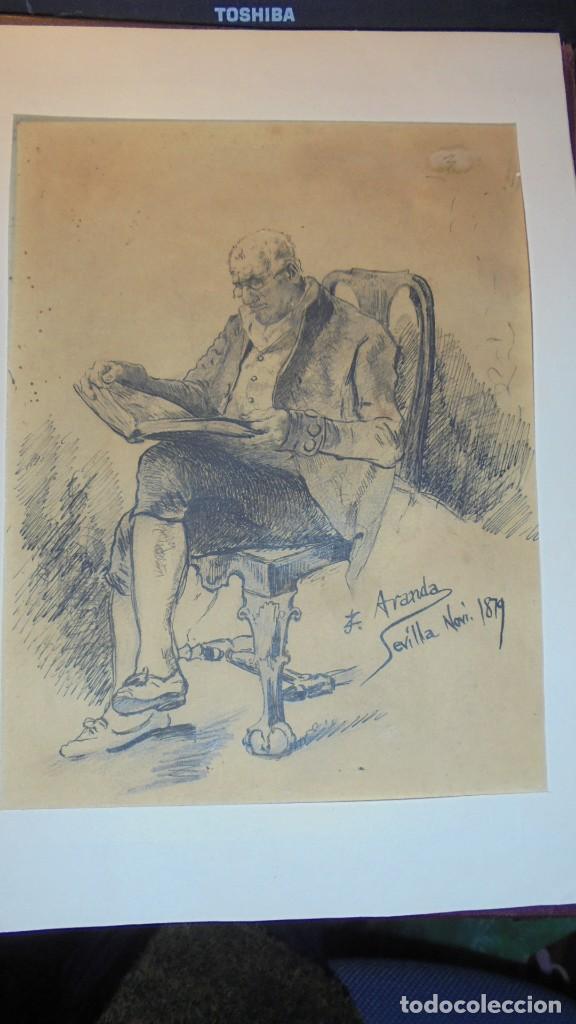 DIBUJO A PLUMILLA FIRMADO J.Z.ARANDA SEVILLA NOVI. 1879 ENMARCADO DIBUJO 26X20 CM. (Arte - Dibujos - Modernos siglo XIX)