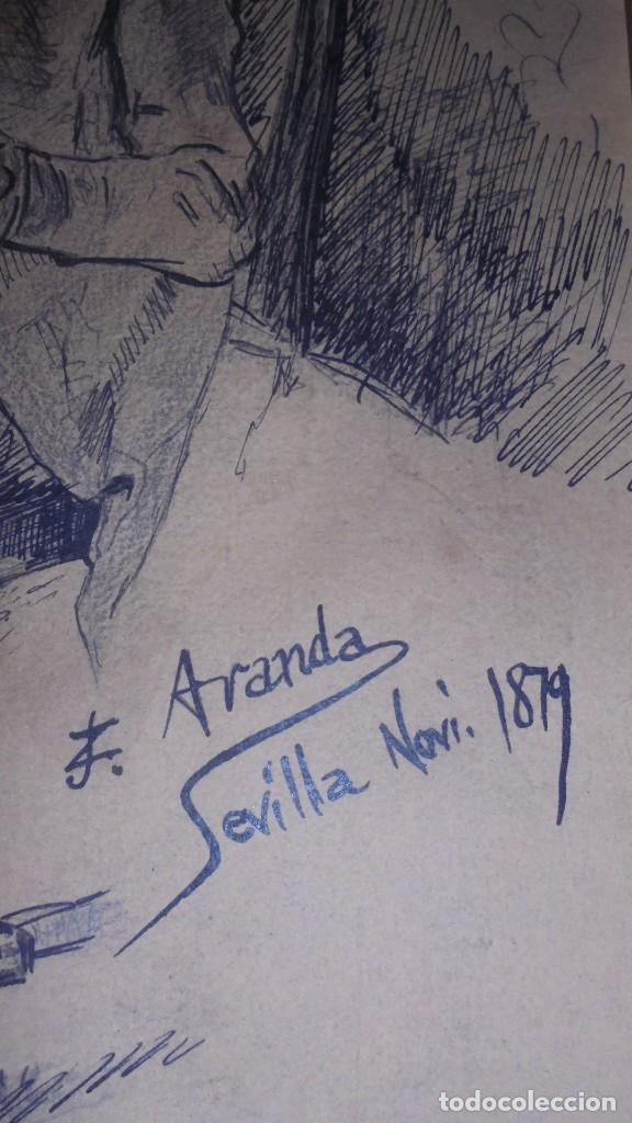 Arte: DIBUJO A PLUMILLA FIRMADO J.Z.ARANDA SEVILLA NOVI. 1879 ENMARCADO DIBUJO 26X20 CM. - Foto 2 - 152448870