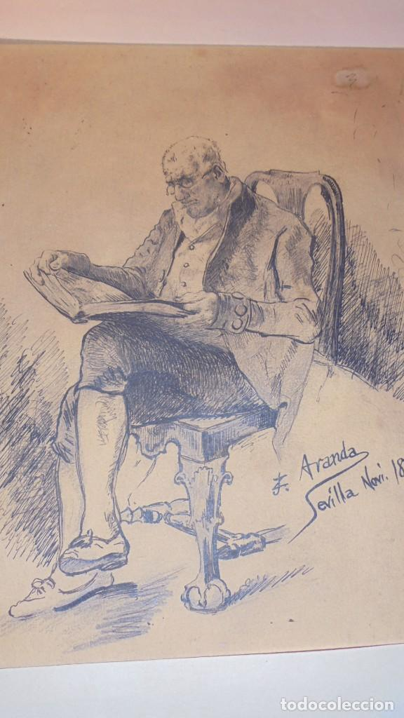 Arte: DIBUJO A PLUMILLA FIRMADO J.Z.ARANDA SEVILLA NOVI. 1879 ENMARCADO DIBUJO 26X20 CM. - Foto 3 - 152448870