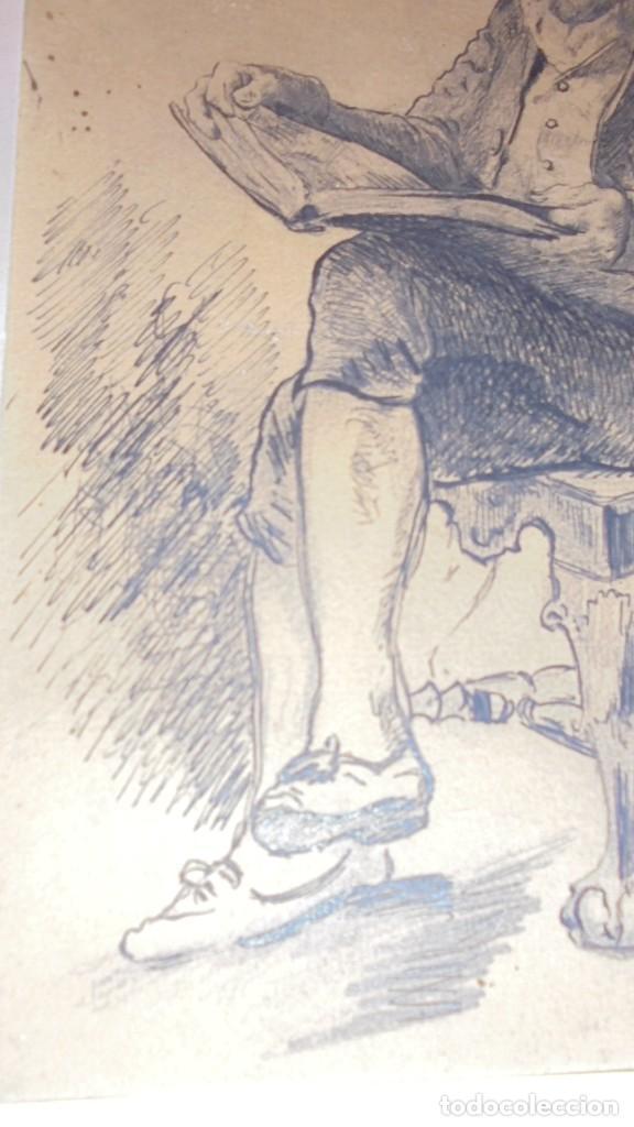 Arte: DIBUJO A PLUMILLA FIRMADO J.Z.ARANDA SEVILLA NOVI. 1879 ENMARCADO DIBUJO 26X20 CM. - Foto 6 - 152448870