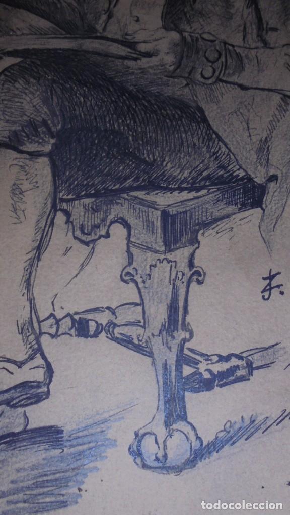 Arte: DIBUJO A PLUMILLA FIRMADO J.Z.ARANDA SEVILLA NOVI. 1879 ENMARCADO DIBUJO 26X20 CM. - Foto 7 - 152448870