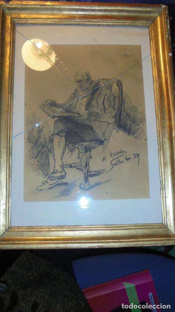 Arte: DIBUJO A PLUMILLA FIRMADO J.Z.ARANDA SEVILLA NOVI. 1879 ENMARCADO DIBUJO 26X20 CM. - Foto 8 - 152448870