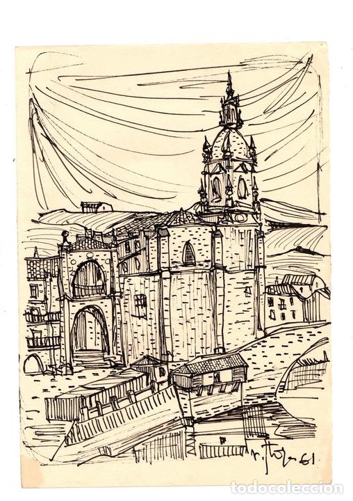 DIBUJO ORIGINAL EN TINTA CHINA BILBAO, UTILIZADO PARA ILUSTRAR EL COFRE DEL BILBAINO. AÑO 1961 (Arte - Dibujos - Contemporáneos siglo XX)