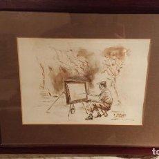 Arte: ANTIGUO DIBUJO DEL PINTOR FERNANDO LLEONART REALIZADO POR OTRO AMIGO SUYO PINTOR AL CARBONCILLO. Lote 152802462
