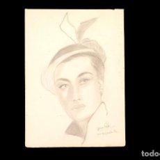 Arte: DIBUJO RETRATO DE UNA CHICA A LÁPIZ, FIRMADO. Lote 152807046