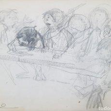 Arte: MANUEL MONEDERO (SEVILLA 1925'2002), PRECIOSO DIBUJO DE NIÑOS, FIRMADO.. Lote 152836410