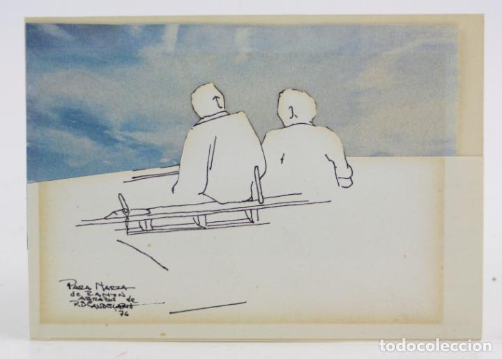HOMBRES SENTADOS, DIBUJO TÉCNICA MIXTA, COLLAGE, 1976, FIRMA ILEGIBLE. 15,5X11CM (Arte - Dibujos - Contemporáneos siglo XX)