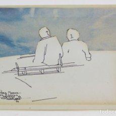 Arte: HOMBRES SENTADOS, DIBUJO TÉCNICA MIXTA, COLLAGE, 1976, FIRMA ILEGIBLE. 15,5X11CM. Lote 152879290