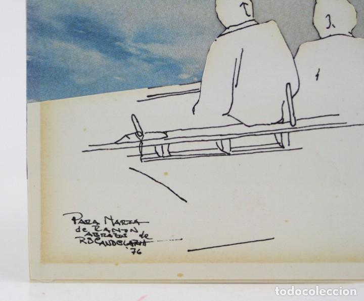 Arte: Hombres sentados, dibujo técnica mixta, collage, 1976, firma ilegible. 15,5x11cm - Foto 2 - 152879290