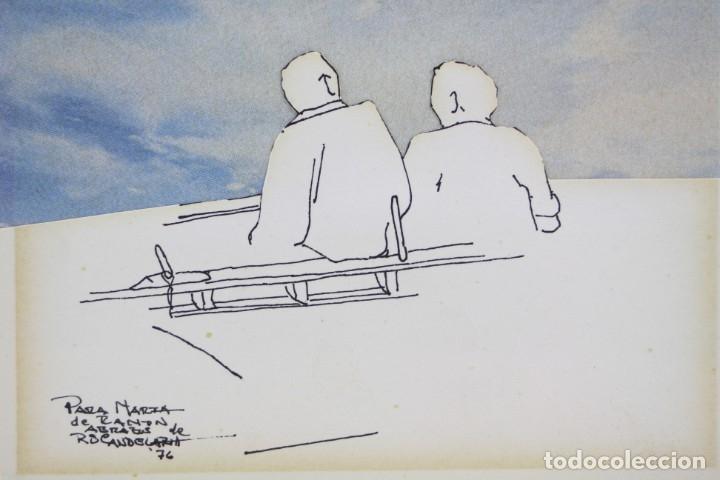 Arte: Hombres sentados, dibujo técnica mixta, collage, 1976, firma ilegible. 15,5x11cm - Foto 3 - 152879290