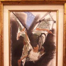 Arte - Dibujo de murciélago, firmado por Álvaro Delgado (1922-2016). Técnica de ceras. Escuela de Madrid. - 153120334