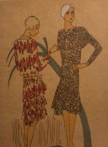 Dibujo original sobre papel cebolla marrón MODA Año 1925 aprox. 12,3x19 cm