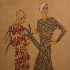 Arte: DIBUJO ORIGINAL SOBRE PAPEL CEBOLLA MARRÓN MODA AÑO 1925 APROX. 12,3X19 CM. Lote 149260650