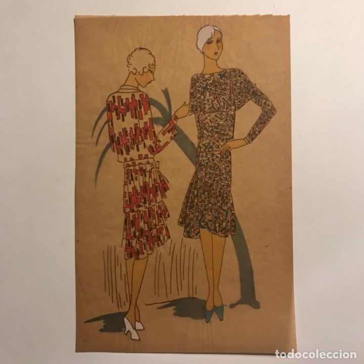 Arte: Dibujo original sobre papel cebolla marrón MODA Año 1925 aprox. 12,3x19 cm - Foto 2 - 149260650
